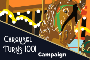 carousel turns 100 fundraising campaign colorful logo