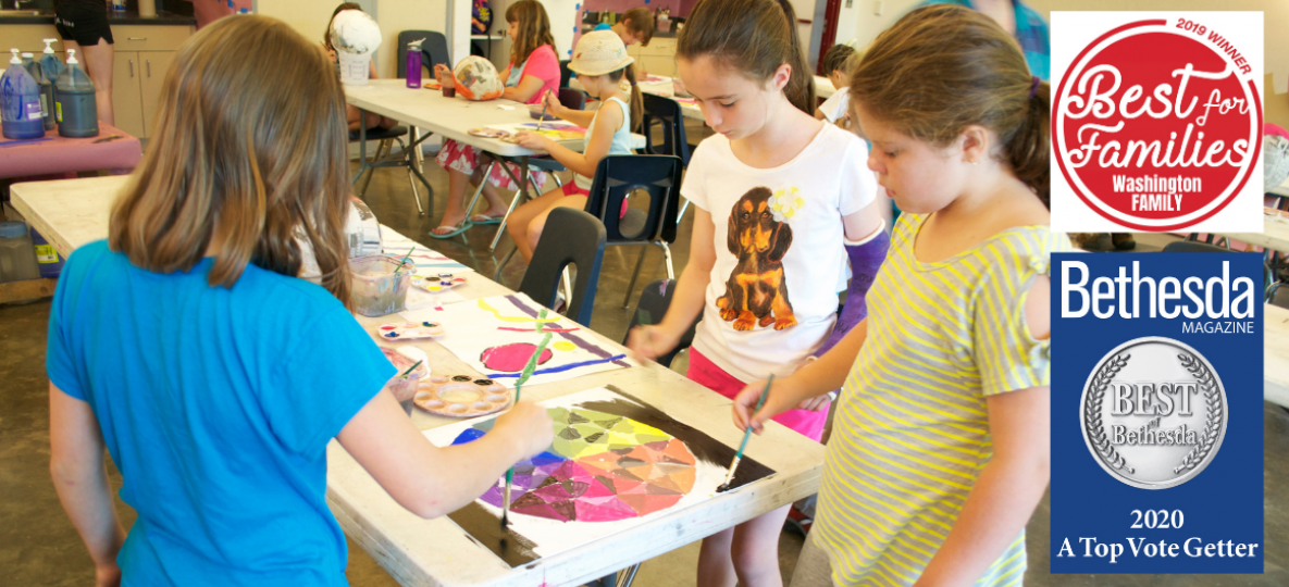 Children attending Glen Echo Park Camps - art camp with girls working