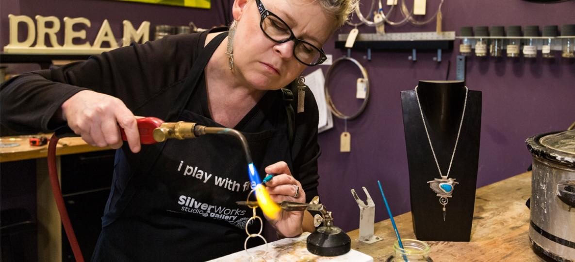 Resident Artist Blair Anderson at work in SilverWorks Studio