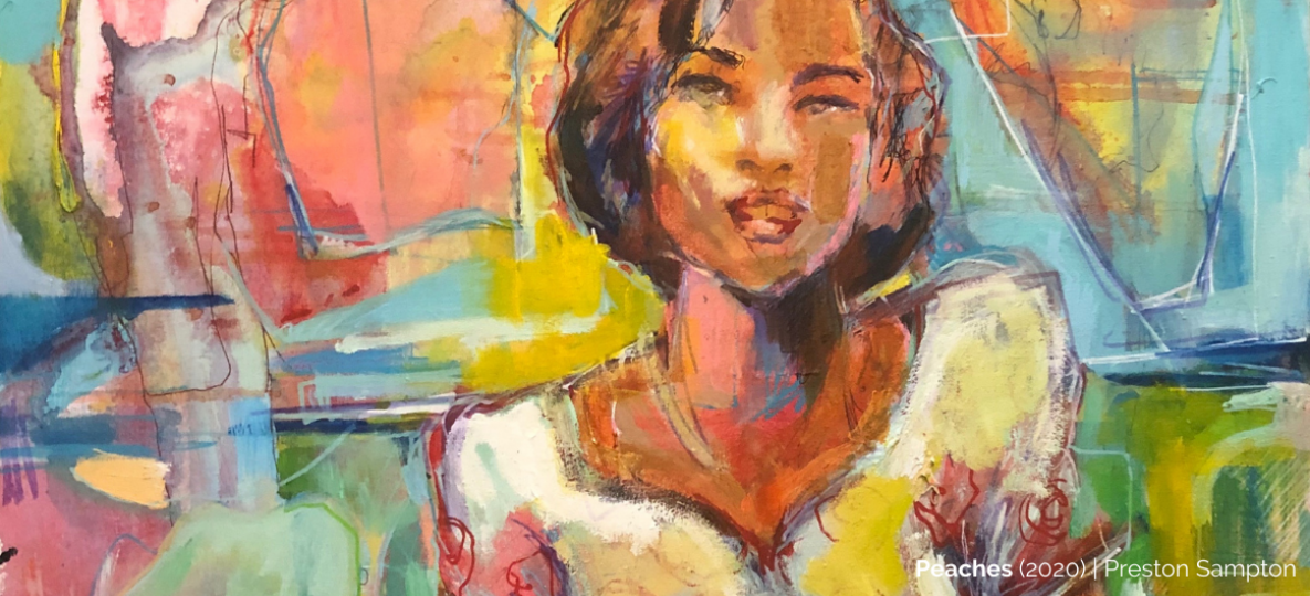 Colorful painting of a woman by Preston Sampson